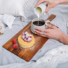 round wooden cheese board with handle
